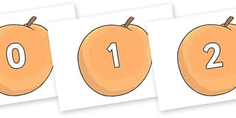 Numbers 0-31 on Giant Peach to Support Teaching on James and the Giant Peach - 0-31, foundation stage numeracy, Number recognition, Number flashcards, counting, number frieze, Display numbers, number posters