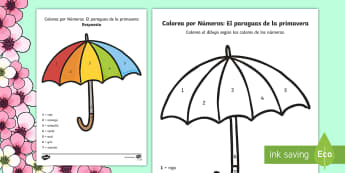 Spring Umbrella Colour by Number Spanish - Spring, KS2, Spanish, MFL, umbrella, colour by number,Spanish
