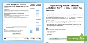 Report Writing Bank of Statements All Subjects Years 1 - 6 Easy Selection Tool Adult Guidance - reports, user guide, support, differentiated, statements