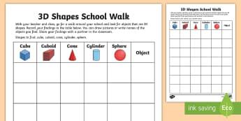 3D Shapes School Walk Activity Sheet - NI KS1 Numeracy, 3D shapes, practical maths, walk, observation sheet, shape hunt, shape find, scaven