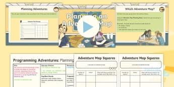 PlanIt D&T Upper KS2 - Programming Adventures Lesson Pack Planning an Adventure Map - Lesson 4 - Adventure maps, design criteria, obstacles, materials, plan, evaluate, revise, bee bot, Generate dev
