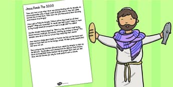 Jesus Feeds the 5000 Bible Story Print Out - christianity, story