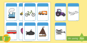 Tarjetas educativas: Los colores - El transporte - transporte, coche, camión, avión, globo aerostático, autobús, moto, motocicleta, vía, carretera