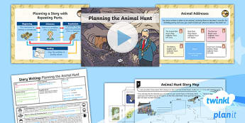 PlanIt Y1 Explorers: To Support Teaching on We're Going on a Bear Hunt Lesson Pack Story Writing (4) - Explorers: Bear Hunt, story writing, planning, story with repeating parts, plan, animal hunt, powerp