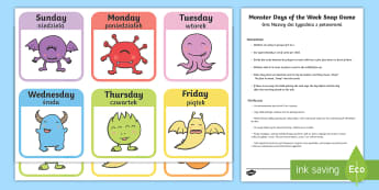 Monster Days of the Week Snap Game English/Polish - Monster Days of the Week Snap Game - monster, days of the week, snap game, snap, game, activity,days