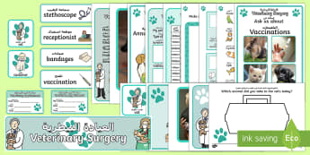 Vet's Surgery Role Play Pack Arabic/English - Vets Surgery Role   Role Play Pack,Arabic,Arabic