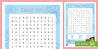 Henry Ford Word Search - cars, automobiles, transport, travel, manufacturing, engineer, engineering, production, machines, Am - cars, automobiles, transport, travel, manufacturing, engineer, engineering, production, machines, Am