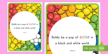 Color Inspirational Quote Display Poster - classroom, display, class, color, colour, crayon, pencil, rainbow, wax, coloring, colouring, inspira
