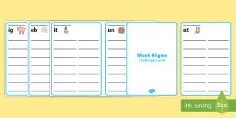 Blank Rhyme Challenge Cards - rhyme, rhyming, generating rhyme, Australia