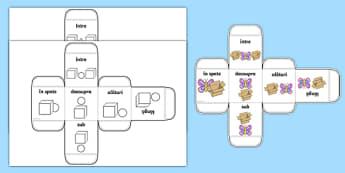 Poziții spațiale - Zar cu imagini - poziții spațiale, zar, imagini, prepoziții, sus, jos, în față, în spate, imagini, joc, cub, romanian, materiale, materiale didactice, română, romana, material, material didactic
