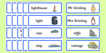 Word Cards to Support Teaching on The Lighthouse Keeper's Lunch - The Lightkeeper's Lunch, Ronda Armitage, Mr Grinling, Mrs Grinling, seagulls, seaside, lunch, Hamish, resources, sandwhich, story, story book, story book resources, story sequencing, s