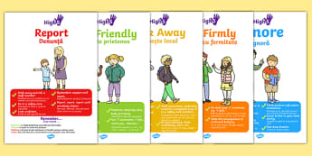 High Five How To Deal With Bullying Display Posters Romanian Translation - poster, buly, bulying