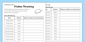 Frisbee Throwing Activity Sheet - challenge, research, home, education, learning, sport, game, team, world records, decimal, rounding decimals, worksheet