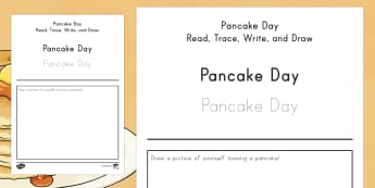 Pancake Day Read, Trace, Write and Draw Activity Sheet - Pancake Day, Pancake Day reading, Pancake Day writing, Pancake Day drawing, pancakes, shrove tuesday