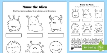 Phase 3 Phonics Name the Alien Activity Sheet - phonics screening, phonics, phase three, digraphs, trigraph, phoneme, grapheme, reading