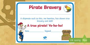 Pirate Bravery Certificate - brave, pirate, skills, pirate day, pirate party