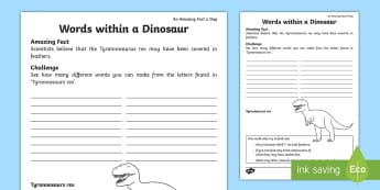 Words within a Dinosaur Activity Sheet - Amazing Fact Of The Day, may, activity sheets, powerpoint, starter, worksheet, morning activity, din