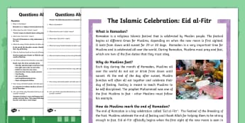KS2 Eid al Fitr Differentiated Reading Comprehension Activity