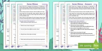 Javan Rhinos Differentiated Activity Sheets - Children's Books, Ronald the Rhino, children's book, endangered, animal, critically, extinct, word
