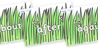 KS1 Keywords on Wavy Grass - KS1, CLL, Communication language and literacy, Display, Key words, high frequency words, foundation stage literacy, DfES Letters and Sounds, Letters and Sounds, spelling