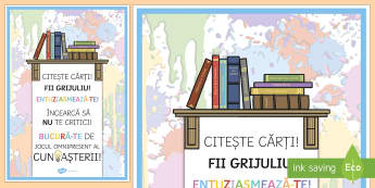 Citește cărți! Fii grijuliu! Planșă motivațională - motivație, dezvoltare personală, română, pozitiv, gândire pozitivă, motivația învățării,