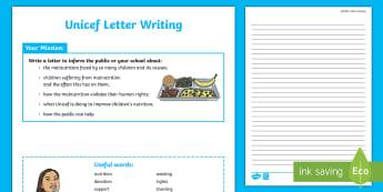 KS2 Letter Writing Activity - KS2, Unicef, hunger, nutrition, food,