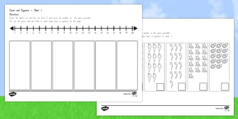 Summer Themed Count and Sequence Cut and Stick Activity - nz, new zealand, counting, summer, count