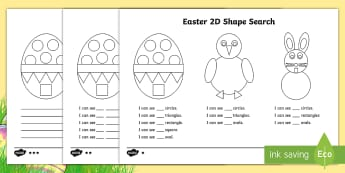 Easter 2D Shape Search Activity Sheet - 2D shapes, Easter, Easter bunny, Easter chick, Easter eggs,Worksheet, Easter colouring, Easter maths