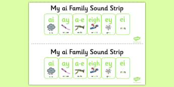My AI Sound Family Strip - Sound family, AI, alternate spellings, alternate spellings for phonemes, family, sounds, phoneme, phonemes