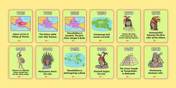 Aztec Timeline Cards - Aztec, aztec people, Mexican, history, Mexico, timeline, cards, flashcards, tenochtitlan, texcoco, lake, temple, tenoch, Valley of Mexico