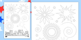 Independence Day Firework Pencil Control Sheet - independence day