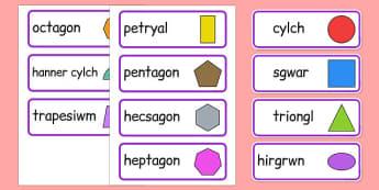 Cardiau Fflach Siapiau 2D - cymreag, welsh, 2d shape, word cards, word, cards, maths, numeracy, shape