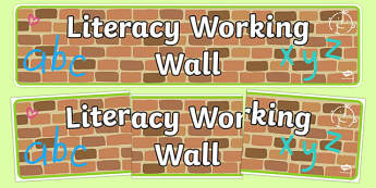 Literacy Working Wall Display Banner EYFS - literacy working wall, display banner, banner, header, banner for display, display header, header for display