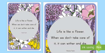 Floral Inspirational Quote Taylor Display Poster - Classroom, Display, Floral, flower, plants, petal, vines, quote, saying, inspiration, motivation