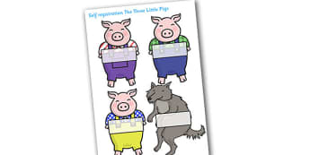 Editable Self Registration Labels (The Three Little Pigs) - Self registration, Three little pigs, register, editable, labels, registration, child name label, printable, traditional tales, tale, fairy tale, pigs, wolf, straw house, wood house, brick h