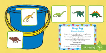 Dinosaur Posting Busy Bag Prompt Card and Resource Pack - Harry and the Bucketful of Dinosaurs, Ian Whybrow, counting, number, dice