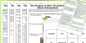 UKS2 Use Brackets, Dashes or Commas to Indicate Parenthesis Resource Pack