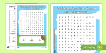 British and Irish Lions Tour of New Zealand 2017 Word Search - rugby, british and irish lions, tour, 2017, all blacks, game, new zealand