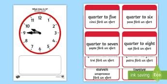 Clock Matching Game: Quarter To English/Romanian - Time resource, Time vocabulary, clock face, Eal