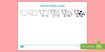 How to Draw a Cow Activity Sheet  - How to Draw a Dog Worksheet - drawing, animals, wet play, design, aniamls, activity sheet