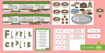 Five Mince Pies Nursery Rhyme Display Pack - five mince pies, nursery rhyme, rhyme, rhyming, christmas, food, santa, display pack