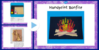 Handprint Bonfire Craft Instructions PowerPoint - handprint, bonfire, craft, instructions