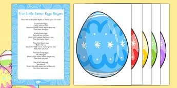 5 Little Easter Eggs Rhyme - Easter, song, rhyme, easter eggs, 5 little easter eggs