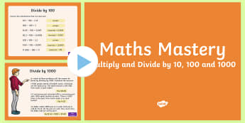 Multiplication and Division, Multiply and Divide by 10 100 1000 Maths Mastery Activities PowerPoint - Year 5, Year 6, maths, mathematics, numeracy, maths mastery activities, problem solving, multiplicat