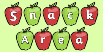 Snack Area on Apples Display Cut Outs - snack, snack area, cut