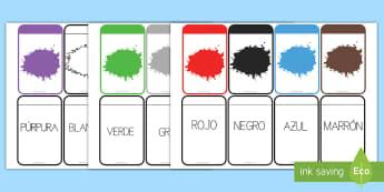 Tarjetas de emparejar: Los colores - vocabulario, emparejar, tarjetas, educativas, colores, color, pintar colorear, cromático, arcoiris,