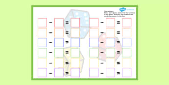 Dice Subtraction Game Sheet - activities, activity, subtract