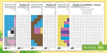 Ficha de actividad de atención a la diversidad: Mosaico de multiplicación - Pascua - multiplicación, tablas de multiplicar, multiplicar, pascua, semana santa, mates, matemáticas, mosa
