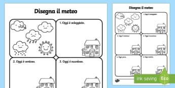 Disgena il Meteo Attività - disegna, il tempo, meteo, attivita, previsioni, del, tempo, esercizio, italiano, italian