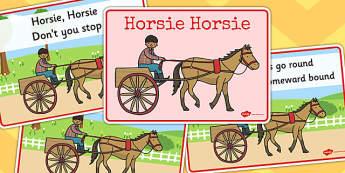 Horsie Horsie Sequencing - horsie horsie, sequencing, rhyme